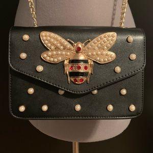 Queen Bee pearl embellished crossbody